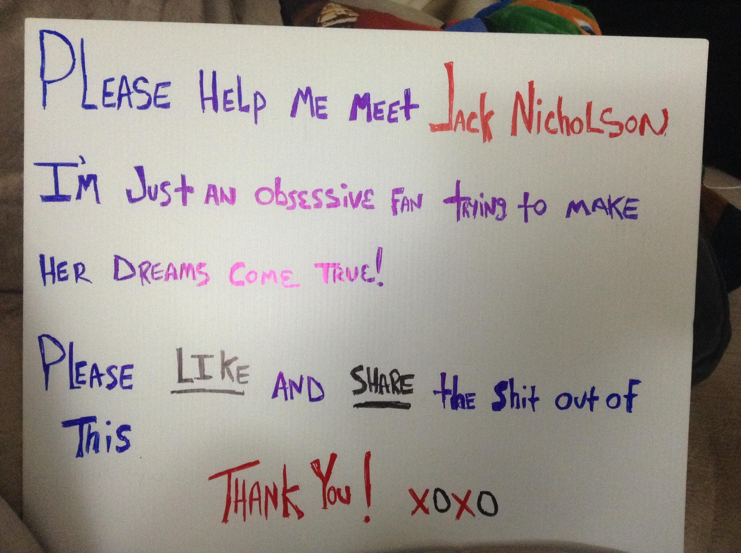 Help me meet JACK NICHOLSON!